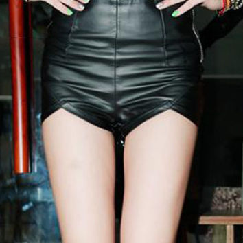 Black Zippered Faux Leather Shorts