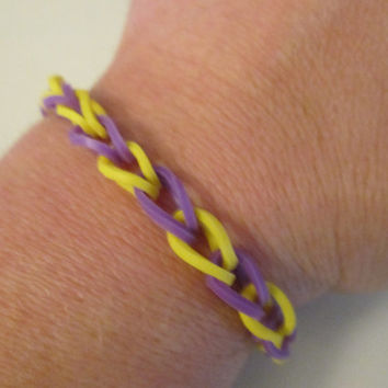 Purple and Yellow Bracelets for Girls, Rubber Band Bracelets, Latex Free Jewelry, Nickel Free Jewelry, Kids, Adults, Trendy