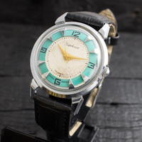 Vintage turquoise Kirovskie mens watch russian watch ussr ccp soviet watch