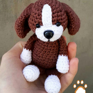 Crochet Amigurumi dog, crochet puppy doll, stuffed toy dog, small knitted puppy toy