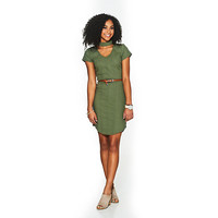 Juniors No Comment Chocker Detail Ribbed Knit Belted Dress