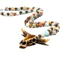 Boho Natural Stone Beaded Long Vintage Tribal Cowboy Pendant Necklace