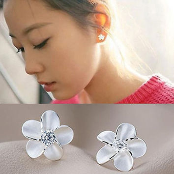 New Chic Fashion Women's 925 Sterling Silver Flower Type Ear Stud Earrings Gift = 1706191236