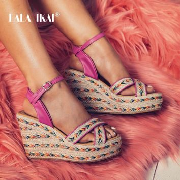 LALA IKAI Bohemian Women Platform Wedges Ankle Buckle Woven Heel Sandals Open Toe Shoes