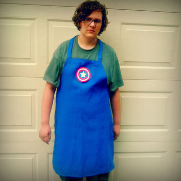 Adult Captain America BBQ Apron - Embroidered and Personalized Apron