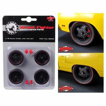5-Spoke Wheel and Tire Set of 4 from 1970 Plymouth Road Runner Street Fighter 6-Pack Attack 1/18 by GMP