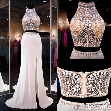 2016 Ivory Two Pieces Dresss Halter Open Back Slit side Illusion Crop Top sexy Mermaid Prom Dresses Party Evening gowns