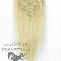 Brazilian 7 Piece Straight Human Hair Weft Clip-In Extensions in #60