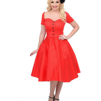 Unique Vintage 1950s Style Red Rhapsody Swing Dress