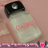 4 pcs White FAMOUS PERFUME BOTTLE with Crystal Resin Flatback Decoden Cabochon