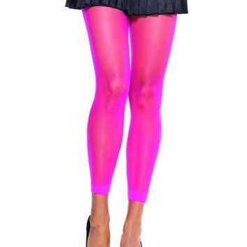 ESBI7E Spandex sheer footless tights in NEON PINK
