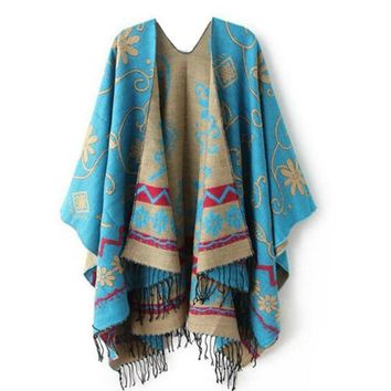 Exquisite Blue Tribal Print Sweater Knitted Cashmere Blend Poncho Shawl Wrap Double Sided with Fringe