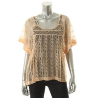 Free People Womens Lace Sheer Pullover Top