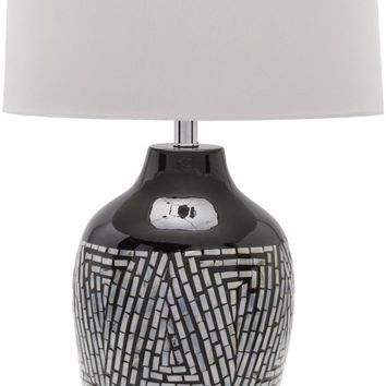 Hillrose Contemporary Table Lamp Mother of Pearl Finish Beige