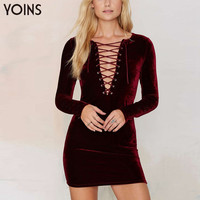YOINS Woman Sexy Bodycon V-neck Lace Up Hollow Out Mini Dress Lady Fashion Party Dresses Cubwear Cocktail Famininos Vestidos