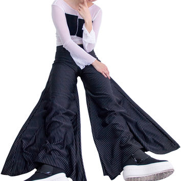 Deep Step Black Pinstripe Pants
