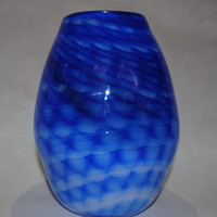 Hand Blown Glass Art Vase: Blue patterned over white