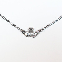 "Pewter Claddagh Charm on 18"" Gunmetal Chain Necklace"
