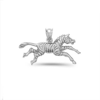 Sterling Silver zebra pendant, animal jewelry