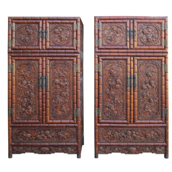 Pair Chinese Rosewood Relief Foo Dog Carving Compound Cabinets sdc01S