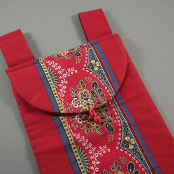 Luxurious Red Cotton French Bread Bag // Vintage Vietnam