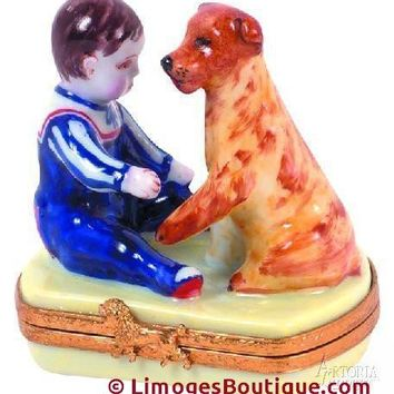 Boy With Sitting Dog Baby Figurine Limoges Boxes