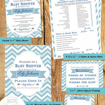 Baby Shower Invitation SET, Blue and Grey Chevron, Elephant, CUSTOM Invitation & Welcome Sign,2 Games,Advice Sign, Advice Cards Printables