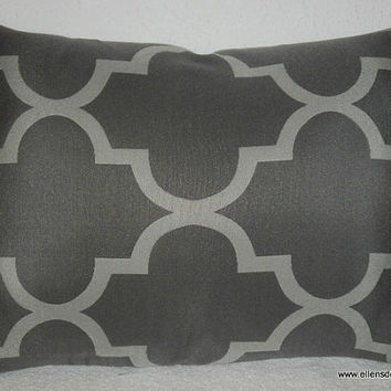 Decorative-Accent-Throw Pillow Cover-Free US Shipping- Approx 14 x 19 1/2 inch Geometric Quatrefoil Light Gray on Dark Gray
