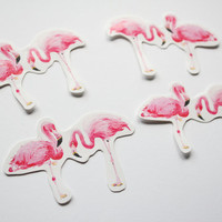 4 Pink Flamingo illustrated glossy vinyl stickers made from my original gouache art