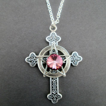 Pink Swarovski Christo-Pagan Cross Necklace ea0c8b3265