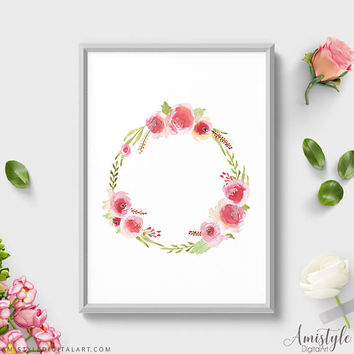 Wall Art Print, Rose Wreath, Botanical Print, Floral Print, Bedroom Decor, Wall Prints, Blush Room Decor, Feminine Art, Watercolor Flowers