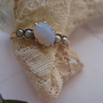 Antique 10K Opal Seed Pearl Ring, Promise Ring, October Birthday