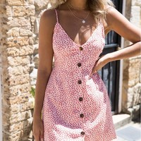 Short Pink Floral Ditsy Summer Dress