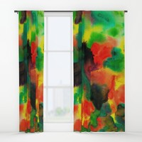 Green red watercolors Window Curtains by floranlaura