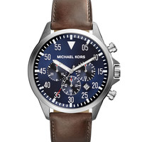 Oversize Tan Leather Gage Chronograph Watch - Michael Kors