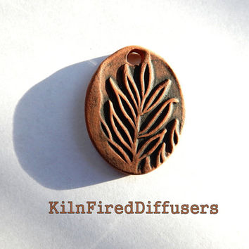 Aromatherapy Terracotta Clay Diffuser NECKLACE, Leaf Design, Adjustable Cord