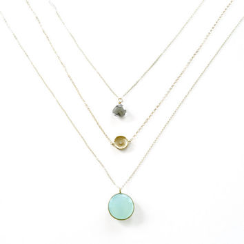 Gold Layer Necklace, Mint Green Gemstone, Simple Minimal Necklace, 14k Gold Fill Necklace With Thin Chain, Delicate Necklace, Landon Lacey
