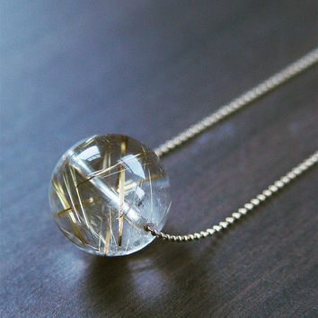 Golden Sphere Quartz Necklace