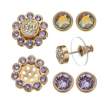 Crystal Colors 14k Gold-Plated Interchangeable Flower Jacket & Stud Earring Set - Made with Swarovski Elements (Purple)