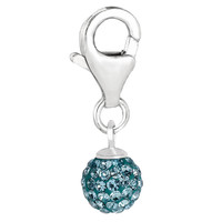 Sterling Silver Crystal March birthstone clip-on ball charm