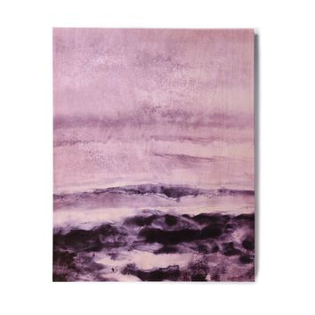 "Iris Lehnhardt ""Abstract Scenery"" Purple Lavender Abstract Coastal Painting Watercolor Birchwood Wall Art"