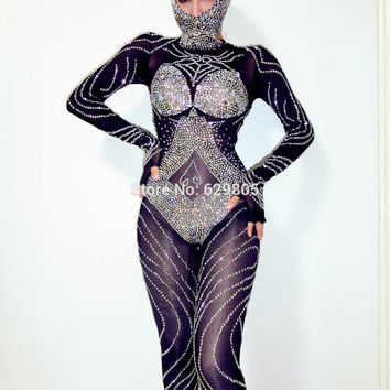 New Fashion Glisten Black Rhinestones Jumpsuit Flashing Outfit Shining Sexy Headdress Party Costume Body Suits Dance Wear
