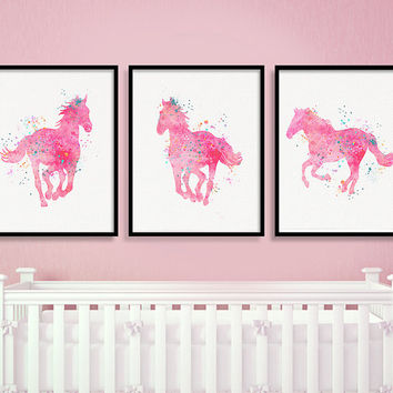Equestrian Girl Art, Girls Room Decor, Watercolor Horse Art, Baby Girl Nursery, Cowgirl Beedrom, Cowgirl Nursery, Western Girls Room, Pink