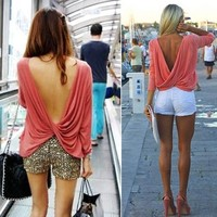 Zeagoo Long Sleeve Wrap Draped Deep V-back Backless T-Shirt Top