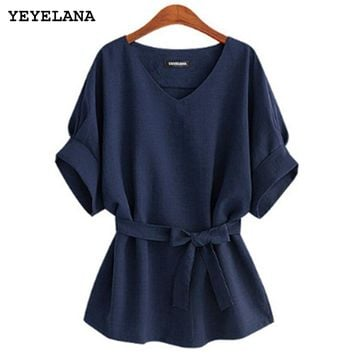 STYLEDOME Women Blouses Linen Tunic Shirt V Neck Big Bow Batwing Tie Loose Ladies Blouse Female Top