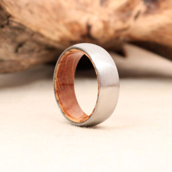 Titanium and Jack Daniels Whiskey Barrel White Oak Stave Wood Ring Titanium Ring