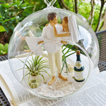 "Wedding Cake Topper Terrarium ~ Bride and Groom Cake Topper ~  Beach Wedding Decor ~ Air plants ~ 8"" Glass Globe ~ Remember Your Special Day"