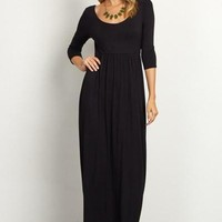 Sydney 3/4 Sleeve Maxi Dress - Black