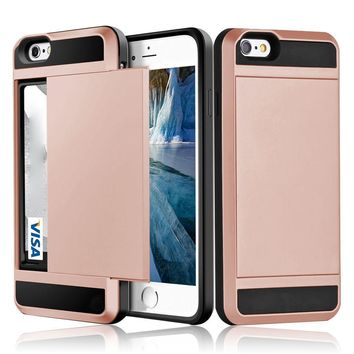 Glossy Hybrid Phone Case With Credit Card Compartment