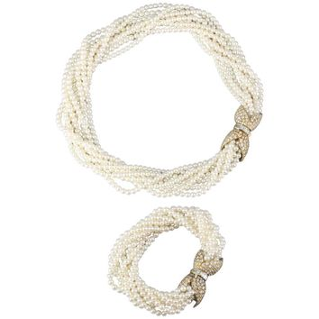 Van Cleef & Arpels Pearl Diamond Gold Torsade Necklace and Bracelet Combination